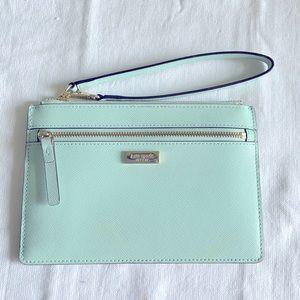 Kate Spade ♠️ leather wristlet! Teal blue color!